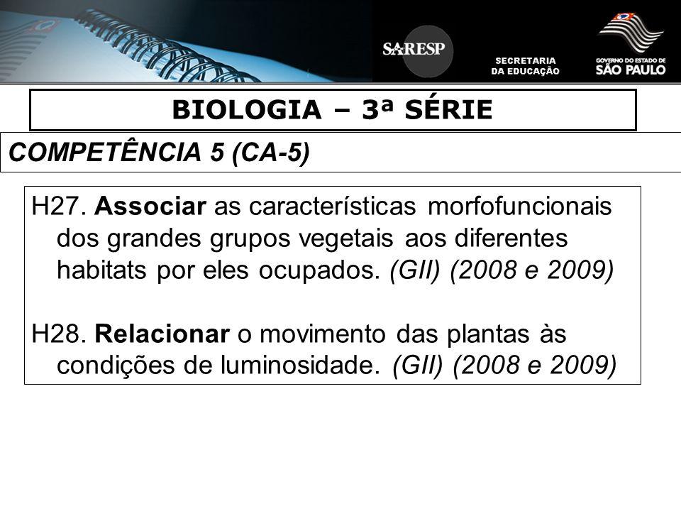 BIOLOGIA – 3ª SÉRIE COMPETÊNCIA 5 (CA-5)