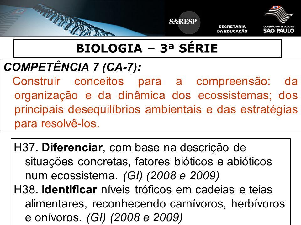 BIOLOGIA – 3ª SÉRIE COMPETÊNCIA 7 (CA-7):