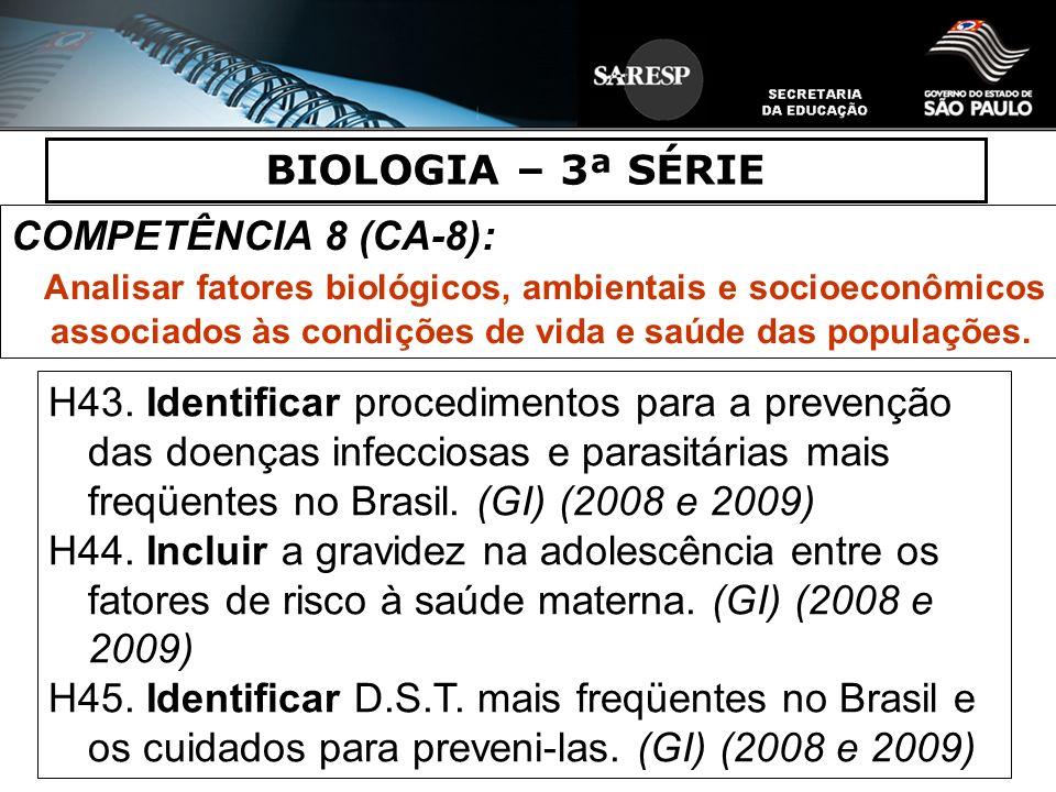 BIOLOGIA – 3ª SÉRIE COMPETÊNCIA 8 (CA-8):