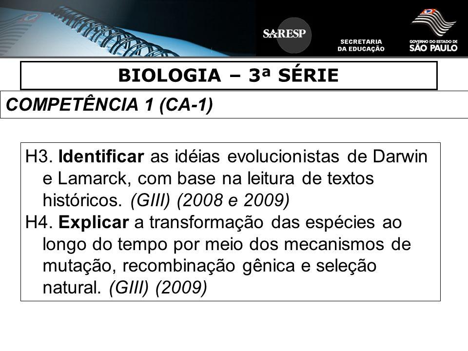 BIOLOGIA – 3ª SÉRIE COMPETÊNCIA 1 (CA-1)