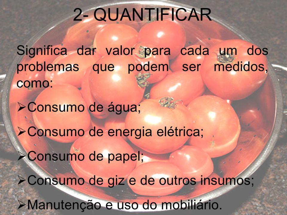 2- QUANTIFICAR Significa dar valor para cada um dos problemas que podem ser medidos, como: Consumo de água;