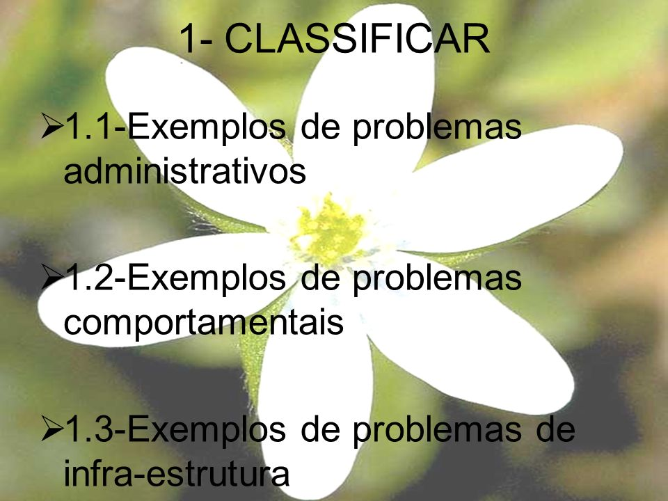 1- CLASSIFICAR 1.1-Exemplos de problemas administrativos