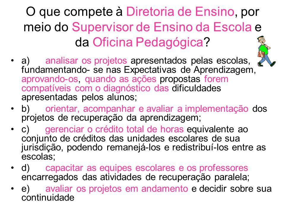 O que compete à Diretoria de Ensino, por meio do Supervisor de Ensino da Escola e da Oficina Pedagógica