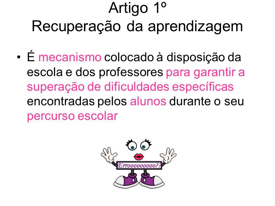 Artigo 1º Recuperação da aprendizagem