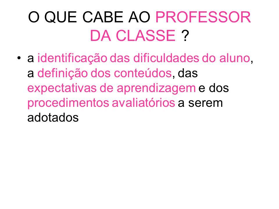 O QUE CABE AO PROFESSOR DA CLASSE