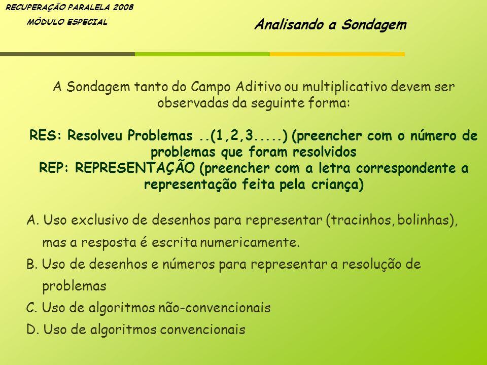 Analisando a Sondagem A Sondagem tanto do Campo Aditivo ou multiplicativo devem ser observadas da seguinte forma: