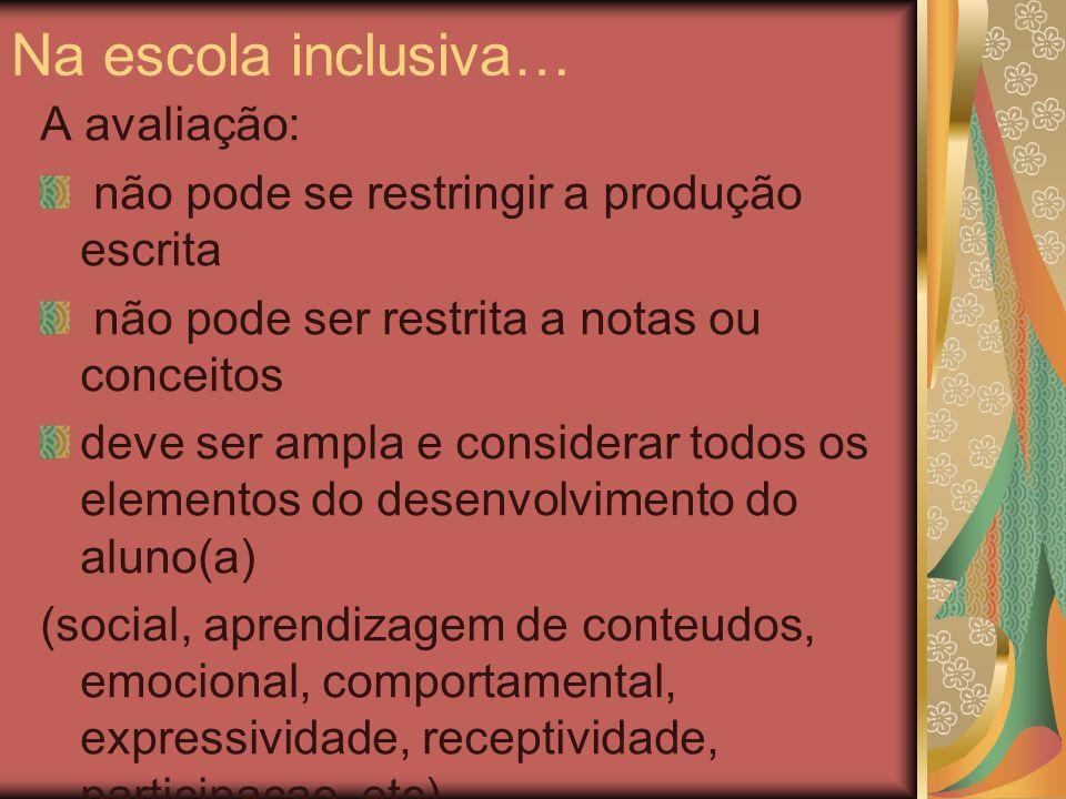 Na escola inclusiva… A avaliação:
