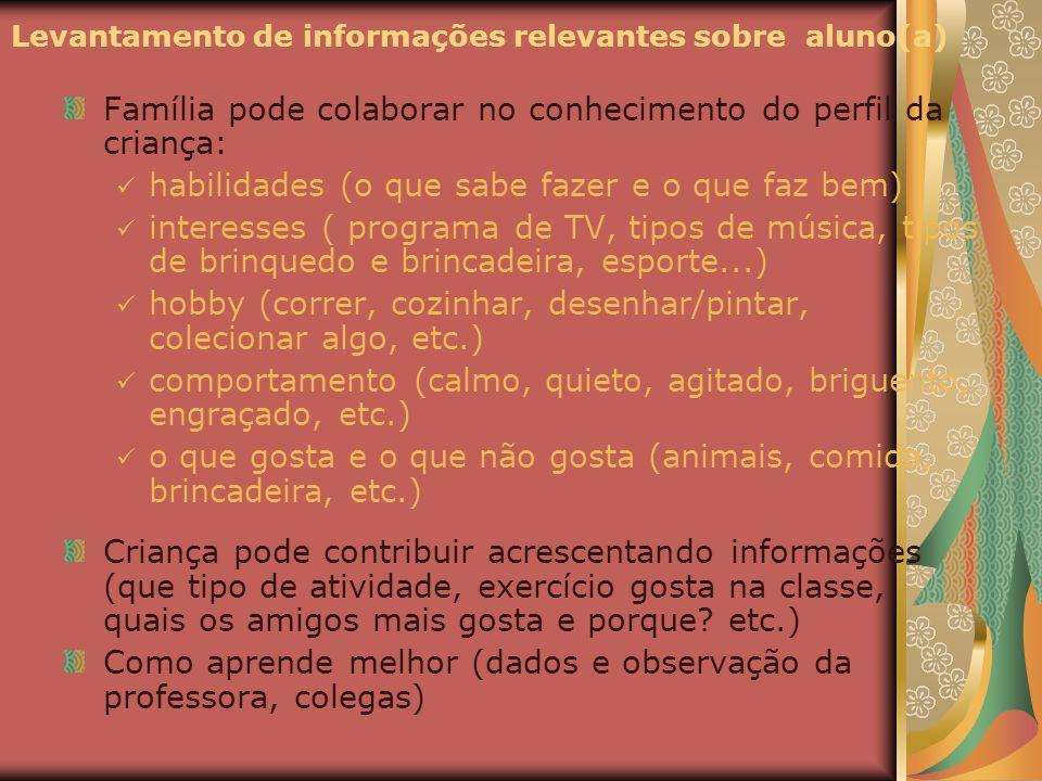 Levantamento de informações relevantes sobre aluno(a)