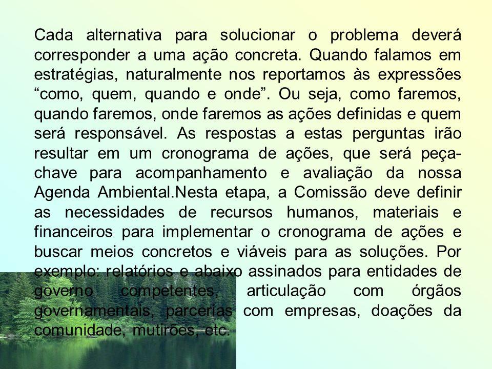 Cada alternativa para solucionar o problema deverá corresponder a uma ação concreta.