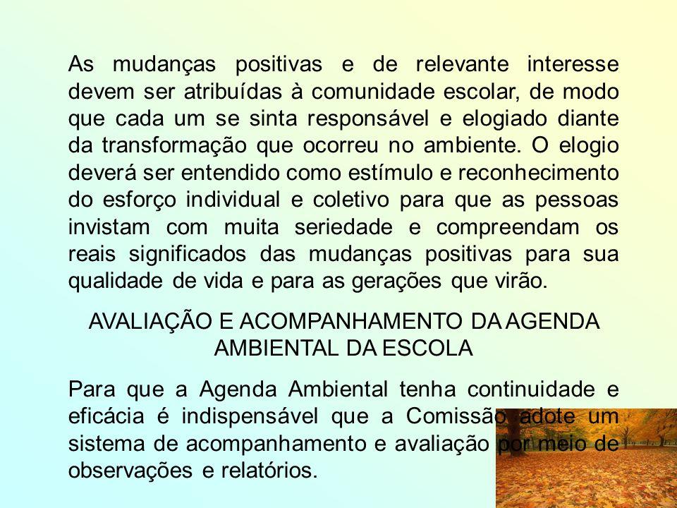 AVALIAÇÃO E ACOMPANHAMENTO DA AGENDA AMBIENTAL DA ESCOLA