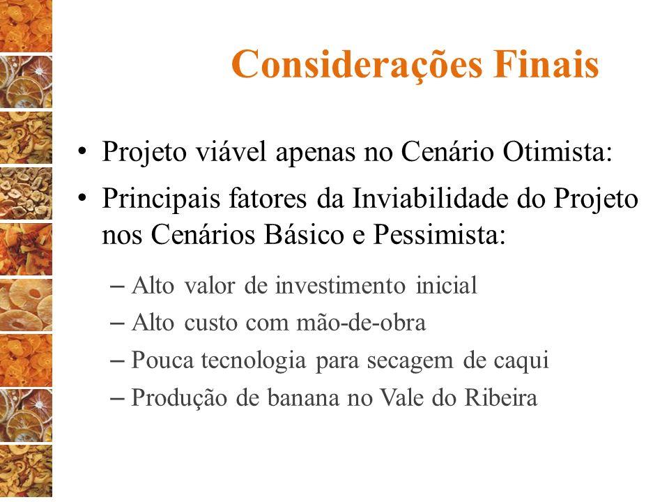 Considerações Finais Projeto viável apenas no Cenário Otimista: