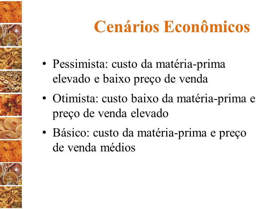 Cenários Econômicos Pessimista: custo da matéria-prima elevado e baixo preço de venda.