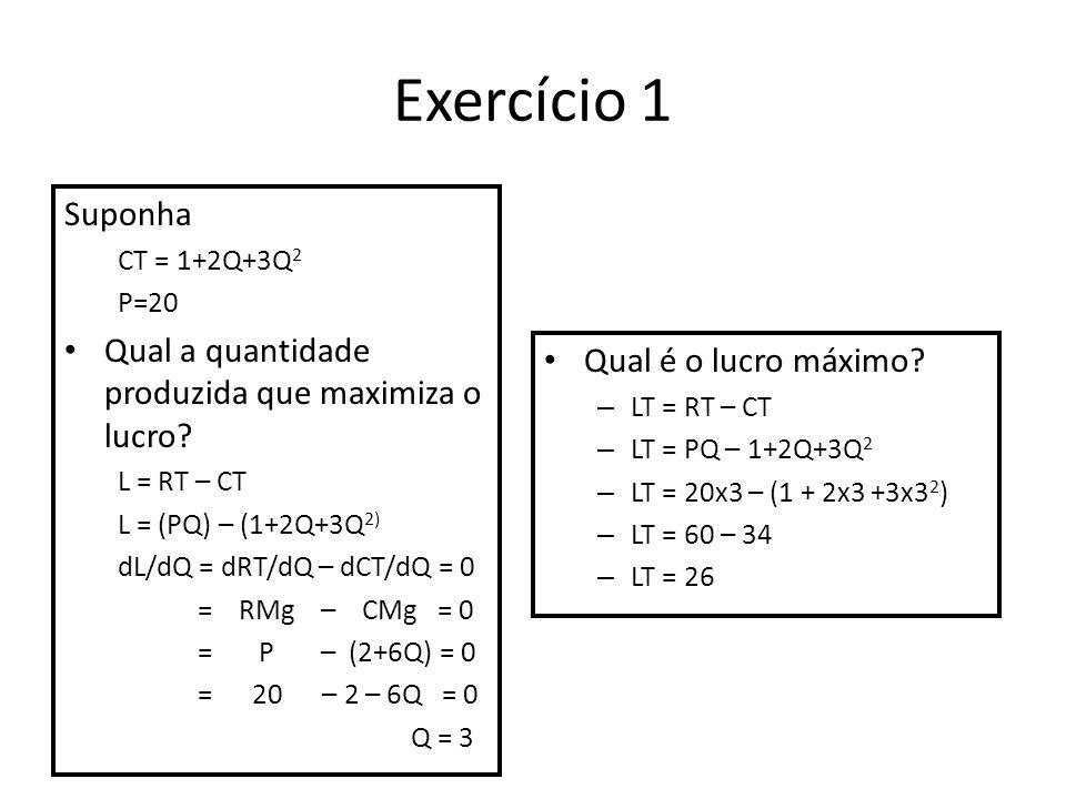 Exercício 1 Suponha Qual a quantidade produzida que maximiza o lucro