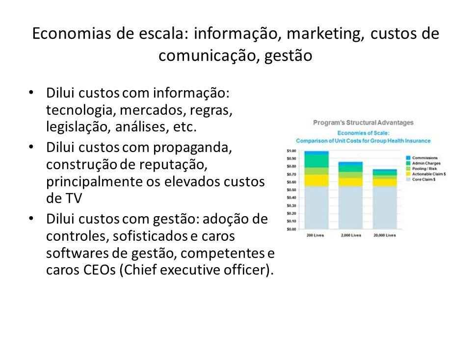 Economias de escala: informação, marketing, custos de comunicação, gestão