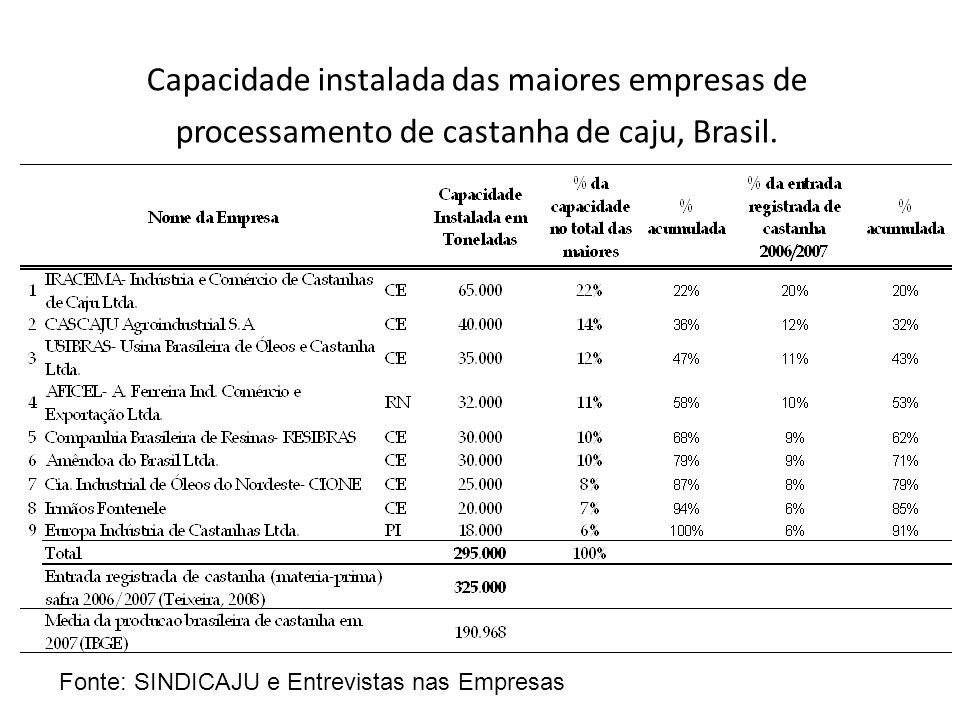 Capacidade instalada das maiores empresas de processamento de castanha de caju, Brasil.