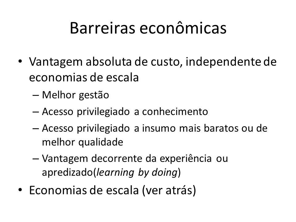 Barreiras econômicas Vantagem absoluta de custo, independente de economias de escala. Melhor gestão.