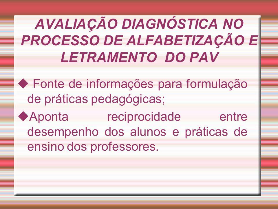AVALIAÇÃO DIAGNÓSTICA NO PROCESSO DE ALFABETIZAÇÃO E LETRAMENTO DO PAV