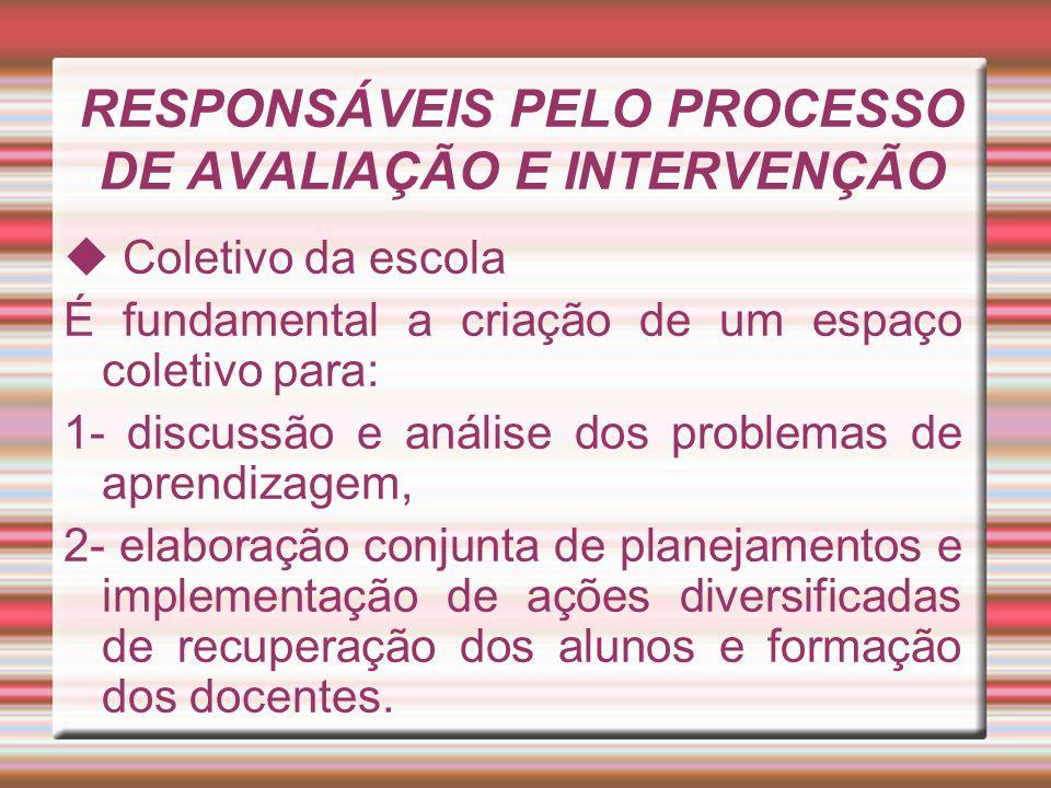 RESPONSÁVEIS PELO PROCESSO DE AVALIAÇÃO E INTERVENÇÃO