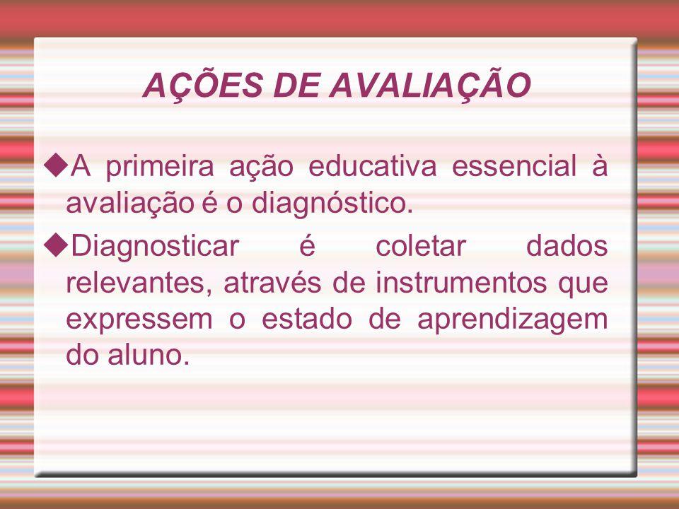 AÇÕES DE AVALIAÇÃO A primeira ação educativa essencial à avaliação é o diagnóstico.