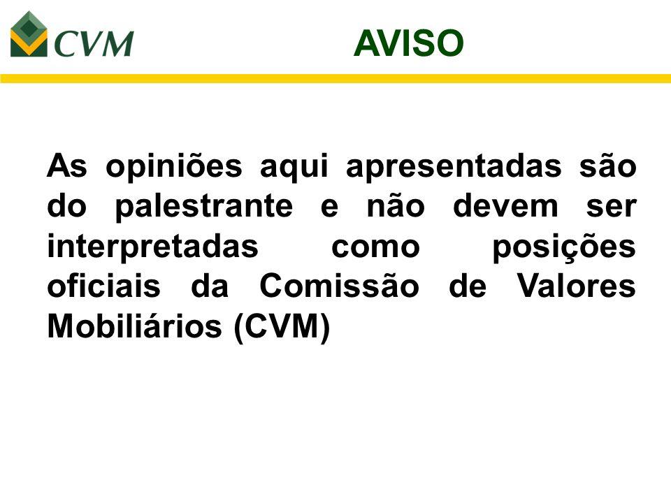 AVISOAs opiniões aqui apresentadas são do palestrante e não devem ser interpretadas como posições oficiais da Comissão de Valores Mobiliários (CVM)