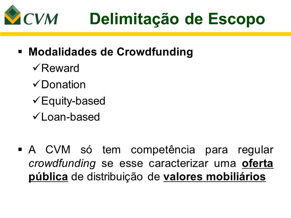 Delimitação de Escopo Modalidades de Crowdfunding Reward Donation