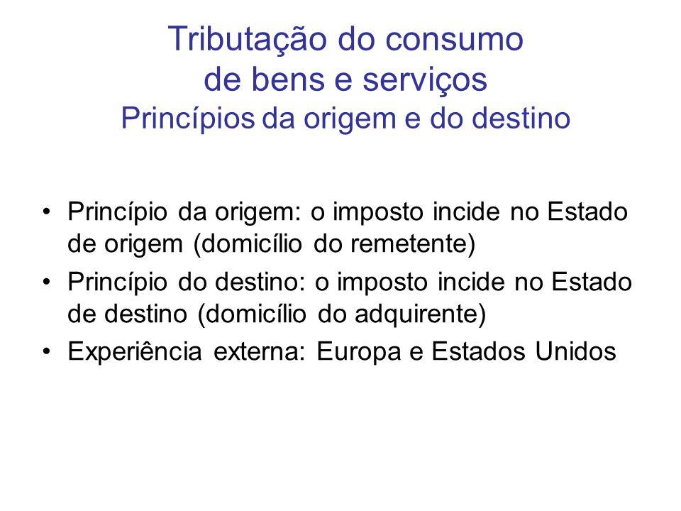 Tributação do consumo de bens e serviços Princípios da origem e do destino
