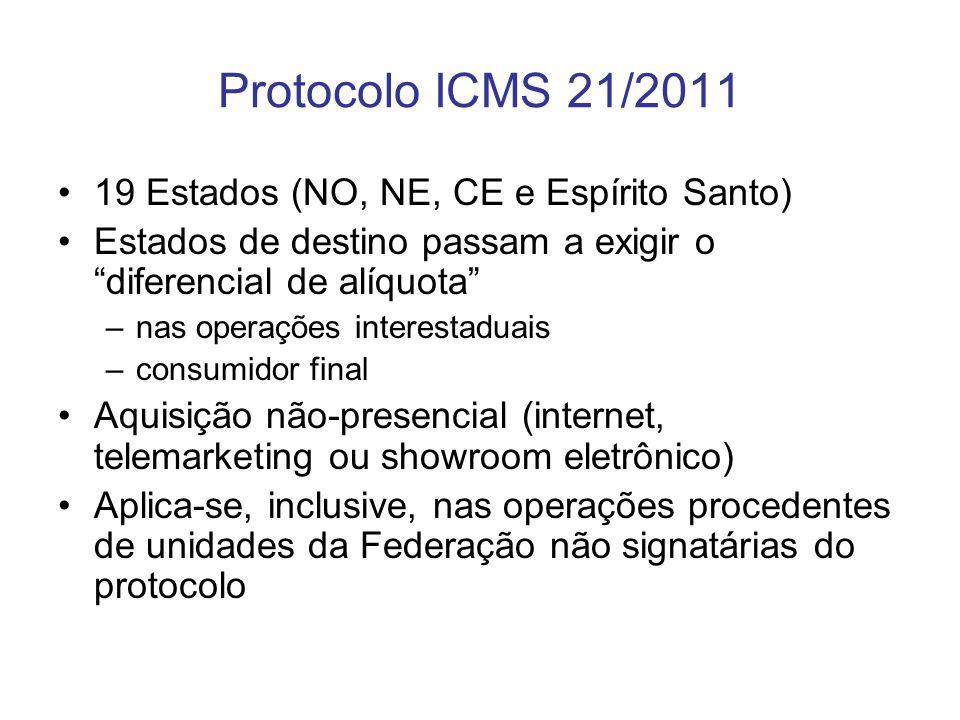 Protocolo ICMS 21/2011 19 Estados (NO, NE, CE e Espírito Santo)