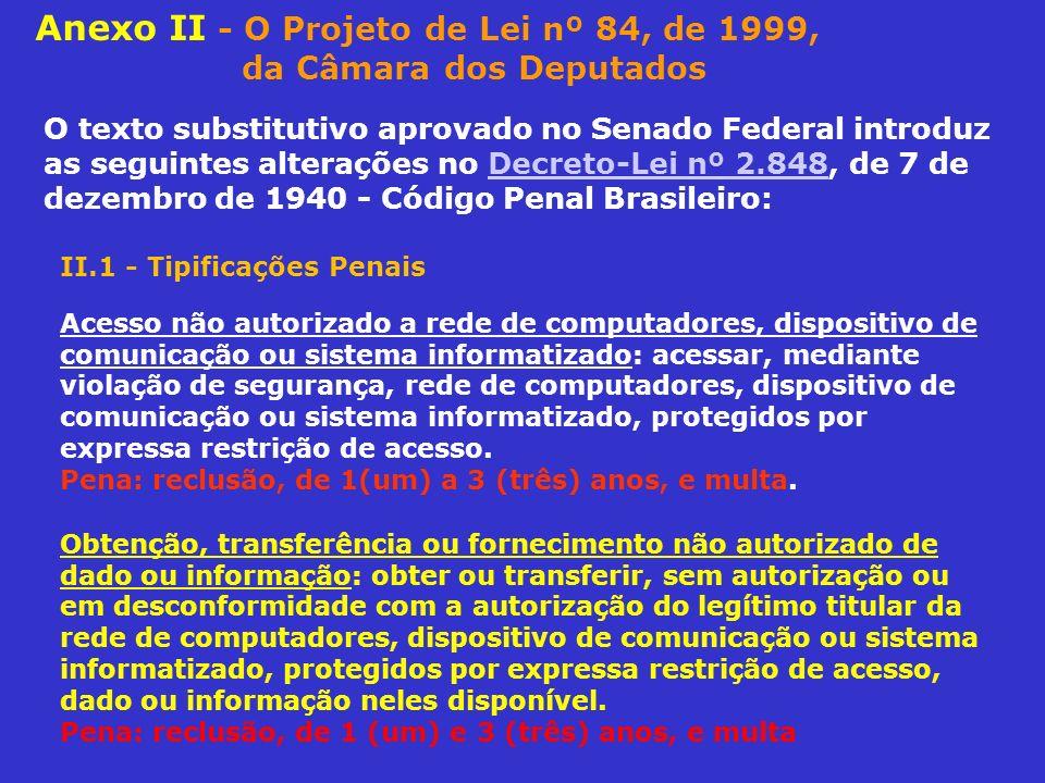 Anexo II - O Projeto de Lei nº 84, de 1999, da Câmara dos Deputados