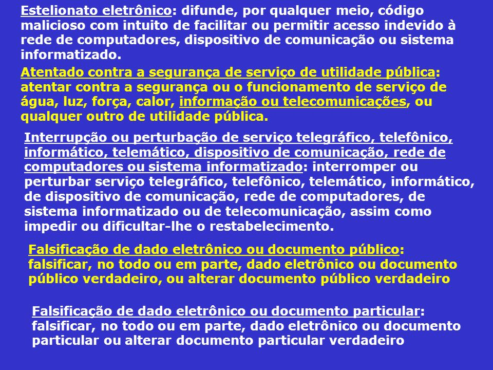 Estelionato eletrônico: difunde, por qualquer meio, código malicioso com intuito de facilitar ou permitir acesso indevido à rede de computadores, dispositivo de comunicação ou sistema informatizado.