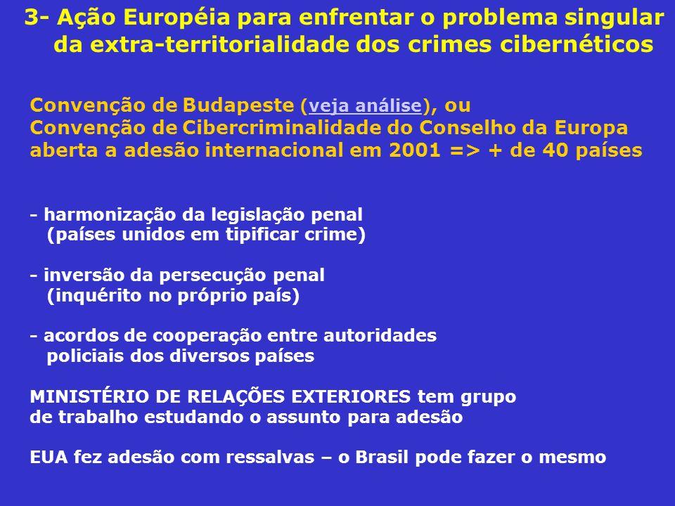 3- Ação Européia para enfrentar o problema singular da extra-territorialidade dos crimes cibernéticos