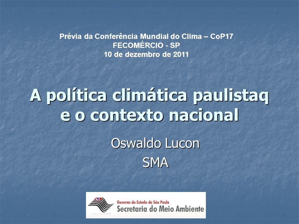 A política climática paulistaq e o contexto nacional
