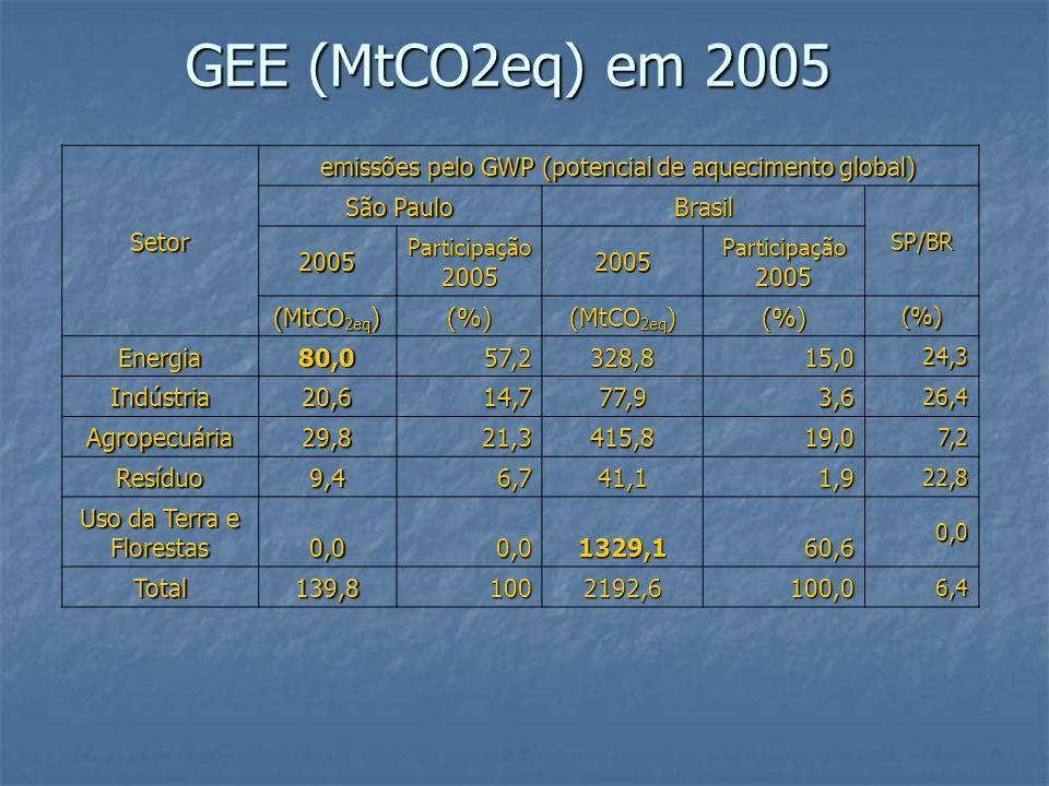 GEE (MtCO2eq) em 2005 Setor. emissões pelo GWP (potencial de aquecimento global) São Paulo. Brasil.