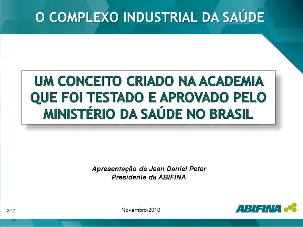O COMPLEXO INDUSTRIAL DA SAÚDE Apresentação de Jean Daniel Peter