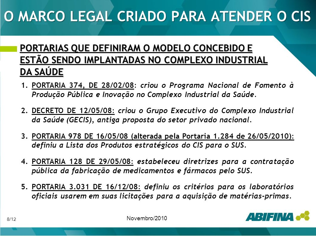 O MARCO LEGAL CRIADO PARA ATENDER O CIS