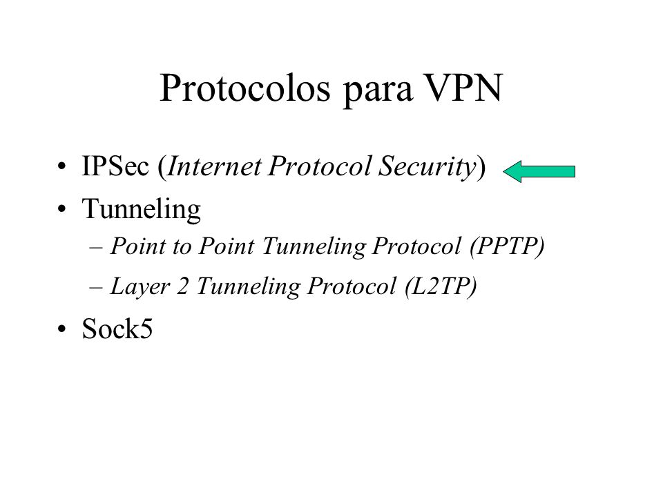 Protocolos para VPN IPSec (Internet Protocol Security) Tunneling Sock5