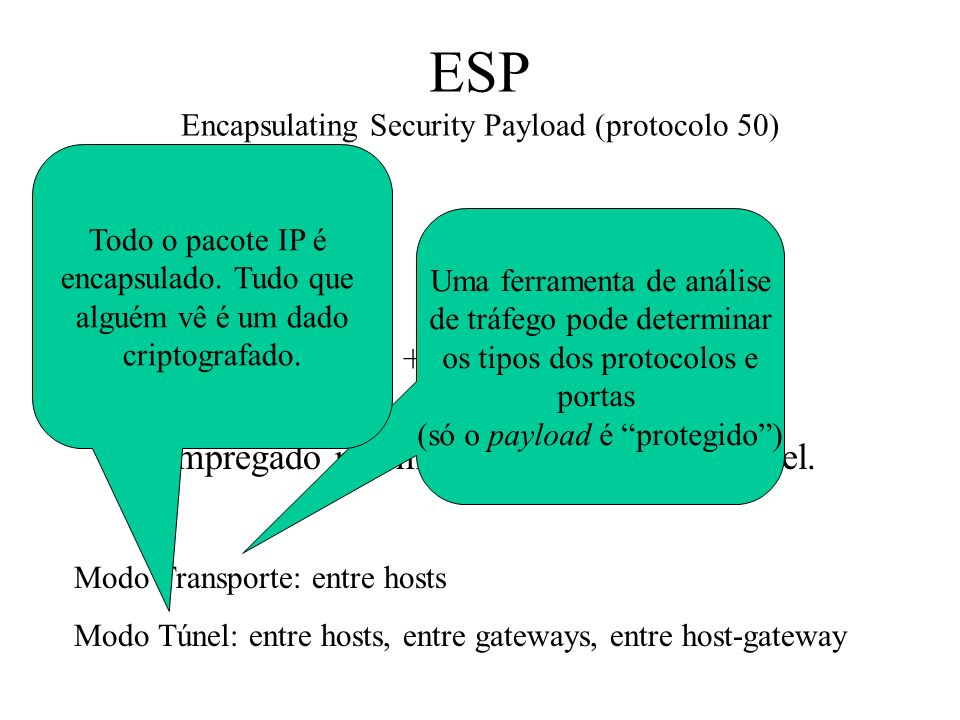 ESP Encapsulating Security Payload (protocolo 50)