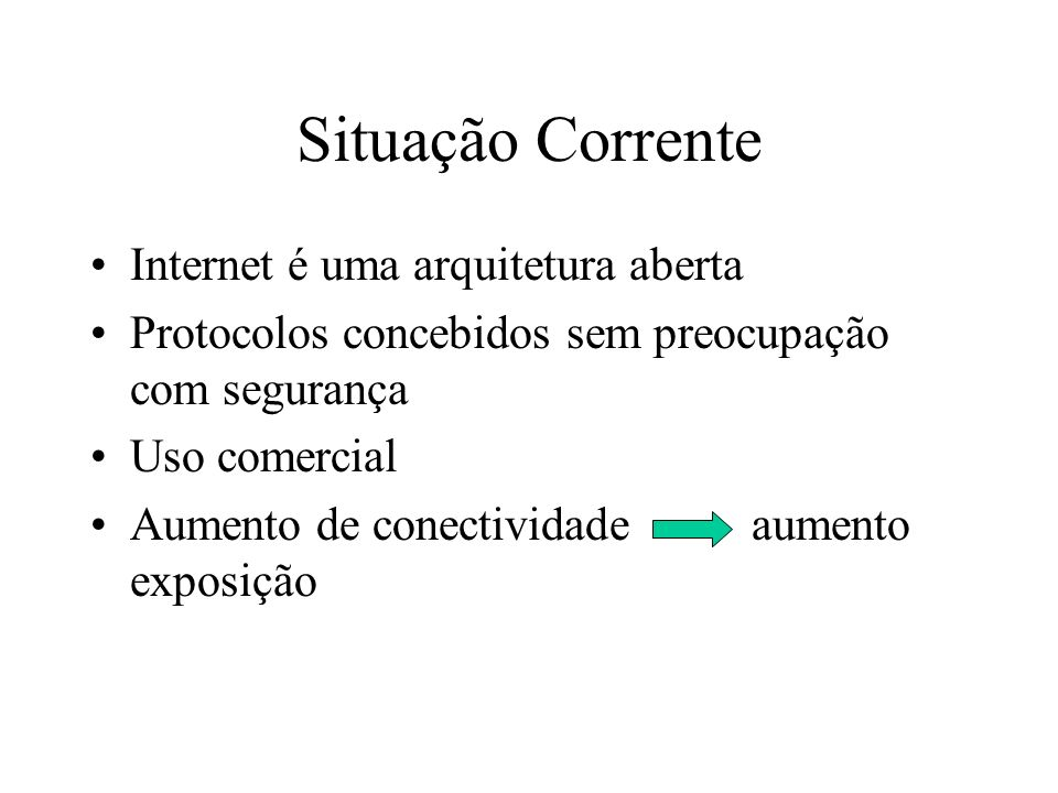 Situação Corrente Internet é uma arquitetura aberta
