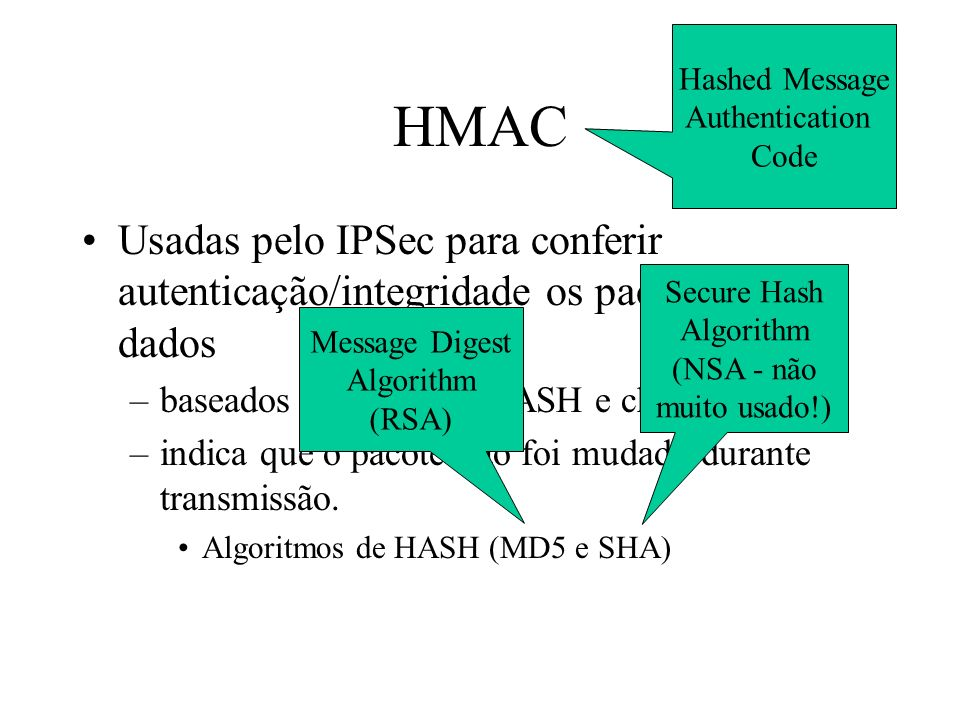 Hashed Message Authentication. Code. HMAC. Usadas pelo IPSec para conferir autenticação/integridade os pacotes de dados.