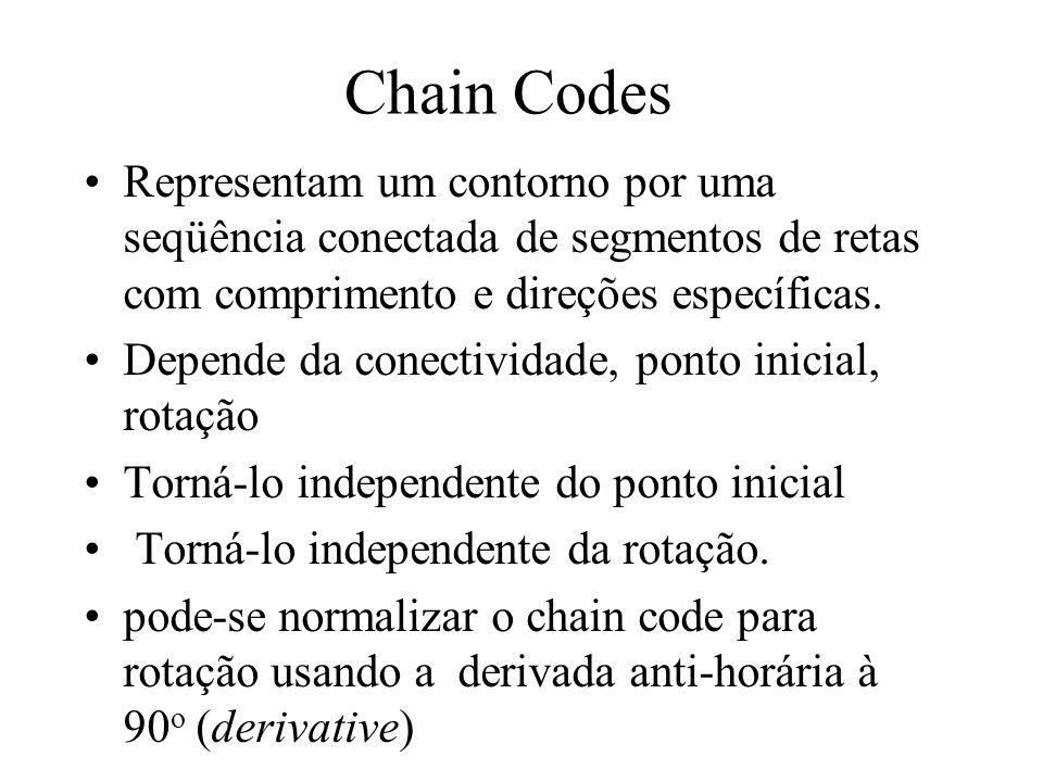 Chain Codes Representam um contorno por uma seqüência conectada de segmentos de retas com comprimento e direções específicas.