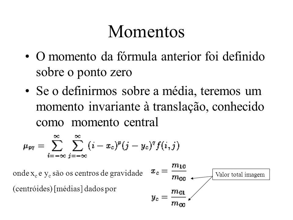 Momentos O momento da fórmula anterior foi definido sobre o ponto zero