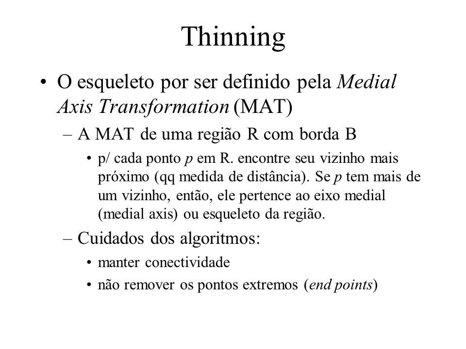 ThinningO esqueleto por ser definido pela Medial Axis Transformation (MAT) A MAT de uma região R com borda B.