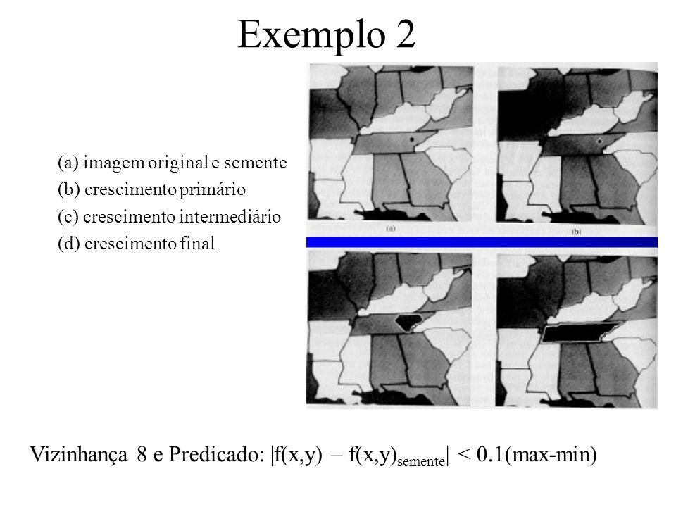 Exemplo 2 (a) imagem original e semente. (b) crescimento primário. (c) crescimento intermediário.