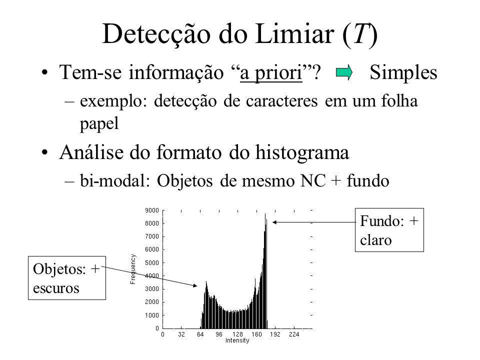 Detecção do Limiar (T) Tem-se informação a priori Simples