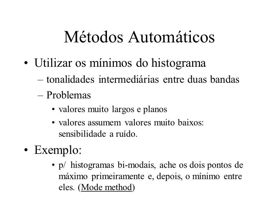 Métodos Automáticos Utilizar os mínimos do histograma Exemplo: