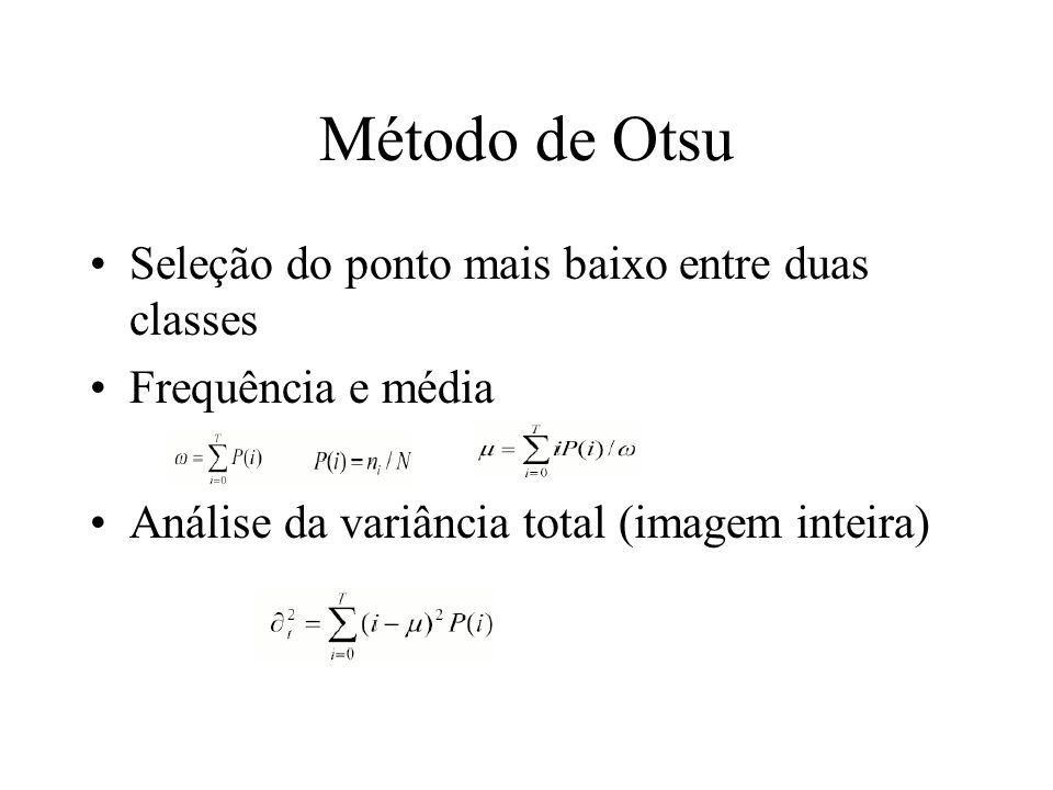 Método de Otsu Seleção do ponto mais baixo entre duas classes