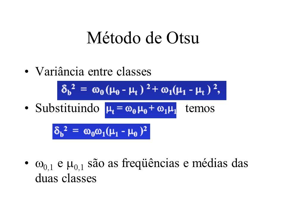 Método de Otsu Variância entre classes Substituindo temos