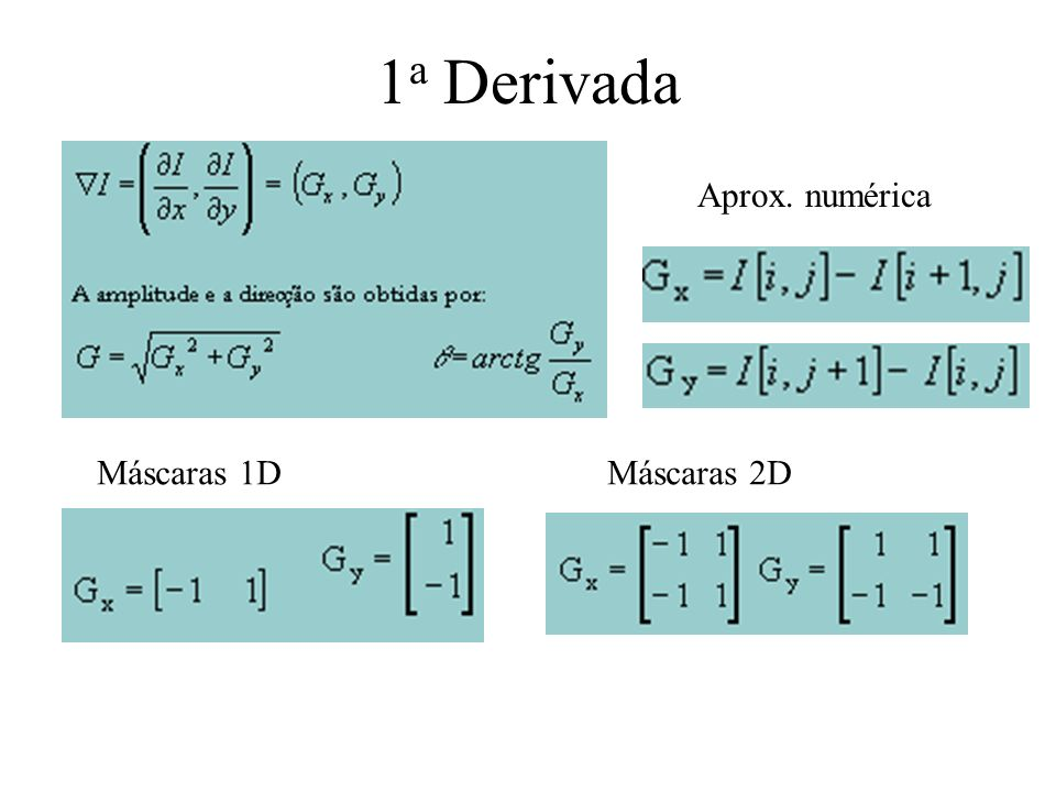 1a Derivada Aprox. numérica Máscaras 1D Máscaras 2D
