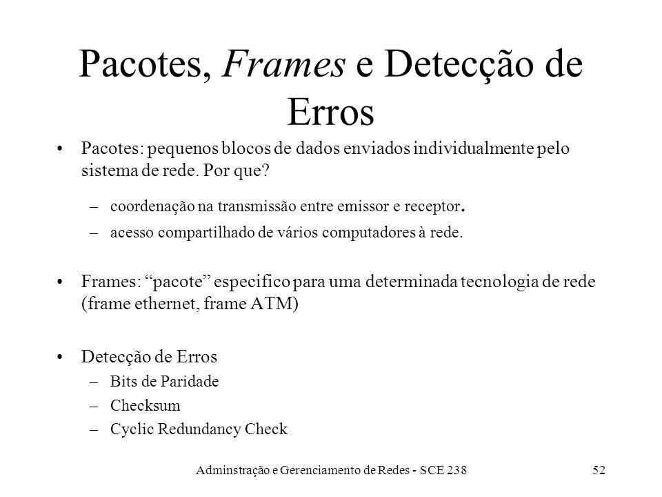 Pacotes, Frames e Detecção de Erros