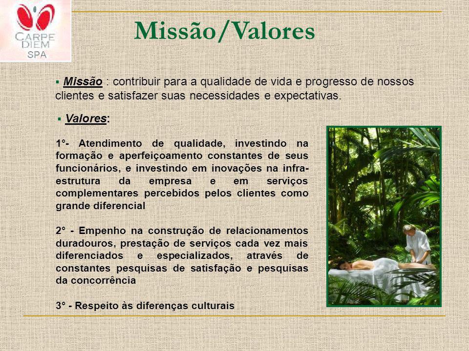 Missão/Valores Missão : contribuir para a qualidade de vida e progresso de nossos clientes e satisfazer suas necessidades e expectativas.