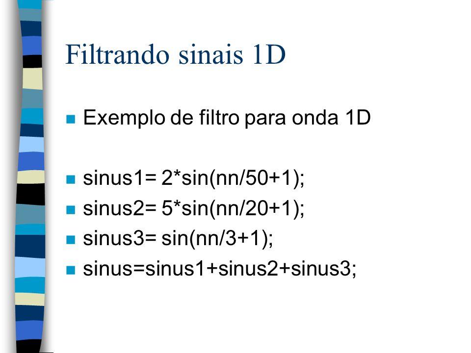 Filtrando sinais 1D Exemplo de filtro para onda 1D